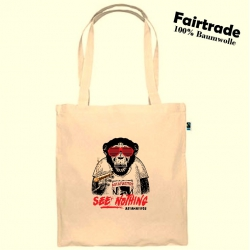 """Fairtrade Baumwolltasche Natur """"SEE NOTHING"""""""