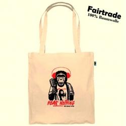 "Fairtrade Baumwolltasche Natur ""HEAR NOTHING"""